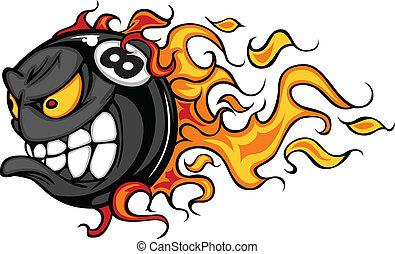 Flaming Eight Ball Face Cartoon Illustration Vector