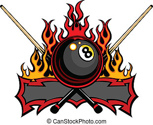 Flaming Billiards Eight Ball with cue sticks Vector Template burning with Fire Flames