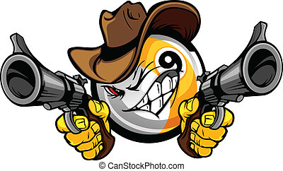 Cartoon image of a Billiards Nine Ball with a face and cowboy hat holding and aiming guns