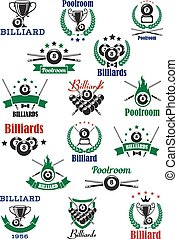 Billiards, snooker and pool emblems with balls, cues, trophy cups, wreath and decorations