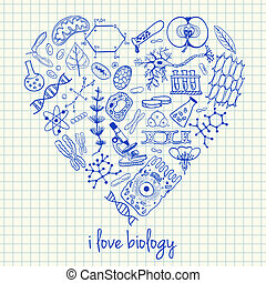 Illustration of biology doodles in heart shape