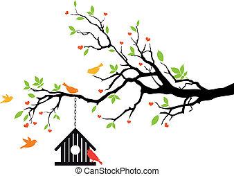 bird house on spring tree, vector