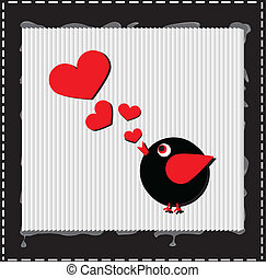 Bird is singing love song from hearts