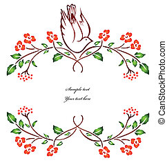 Bird sitting on a flower branch. Vector illustration