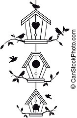 birdhouses with tree branches