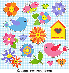 Birds and flowers. Vector set of stickers