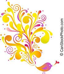 birds with swirls