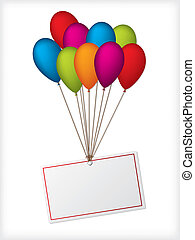 Birthday ballons with editable white label on white background