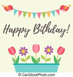 Birthday card with birds and flowers