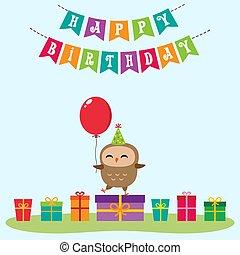 Birthday card with cute owlet