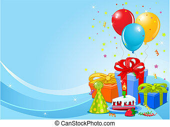 Party balloons and gifts background with gifts and balloons