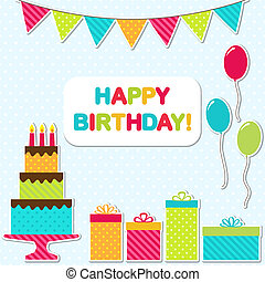 Vector birthday party card