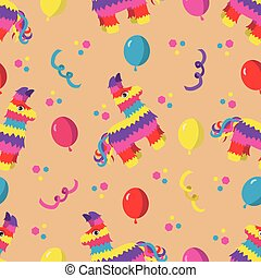 Birthday party seamless pattern with colorful pinata, balloons and confetti on orange background