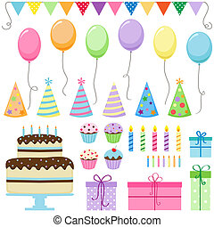Set of vector birthday party elements