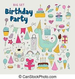 Birthday party vector clip arts.
