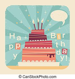 Birthday sweet cake. Retro card illustration on old paper background for text