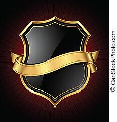 Black and gold shield and ribbon