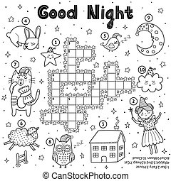 Black and white crossword game for kids. Good night theme coloring page