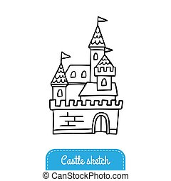Black and white fairy tale castle for magic kingdom. Doodle Vector Illustration. Good for a logo, sticker, indie game, greeting card, banner, invitation or flyer.