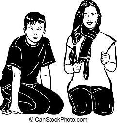 boy and girl sitting next
