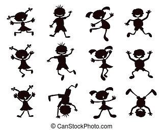 black silhouette of cartoon kids playinig on white background