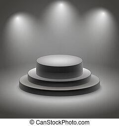 Black empty illuminated podium vector illustration