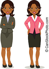 Black executive woman in skirt suit and casual clothing style