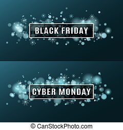 Black Friday and cyber Monday. Super sale. Set of backgrounds. Cover for your project. Flying snowflakes and a flash with flares of blue. White banner