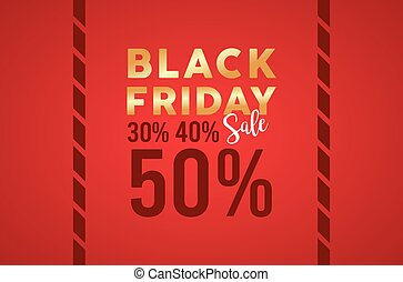 black friday sale banner with golden lettering in red background