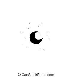 Black half moon and stars isolated on white. Night, sky, dream, sleep symbol.