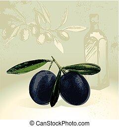 Black olives with olive oil bottle
