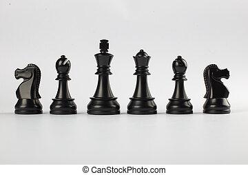 Black powerful figures isolated on white background