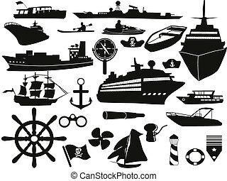 black sailing objects icon set