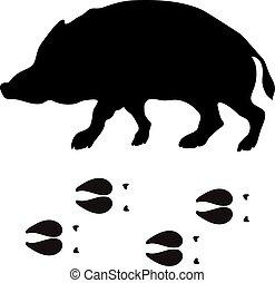 Black silhouette boar wild animal zoo vector.