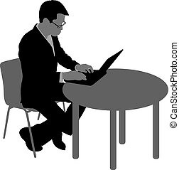 Black silhouette man sitting behind computer, on a white background