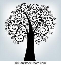 Black Stylized Tree, On Grey Background, Vector Illustration