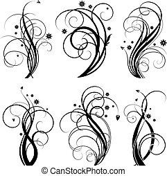 Set of floral design element on white background
