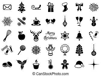 Black vector christmas silhouette icons
