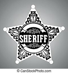 Black vector Sheriff star on gray background