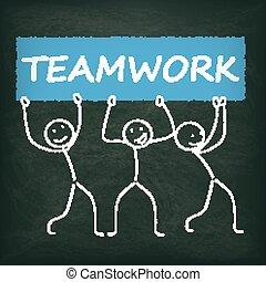 Blackboard Stickman Banner Teamwork