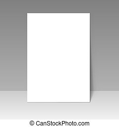 Blank A4 page template isolated on grey background.