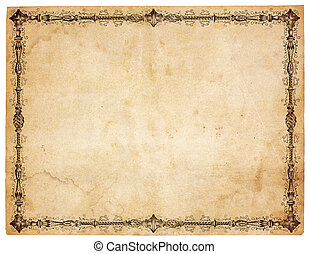 Aged, yellowing paper with stains and smudges. Blank except for very ornate victorian border. Isolated on white. Includes clipping path.