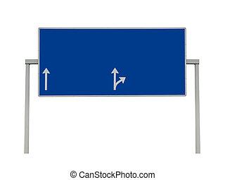 Blank overhead sign highway isolated