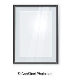 Blank picture frame with black rim hanging on the wall