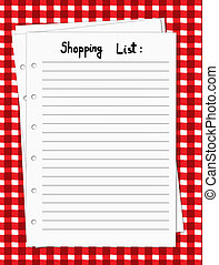 Vector illustration of a blank shopping list on a red and white tablecloth, vector illustration