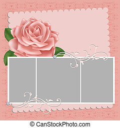 Blank wedding photo frame or postcard