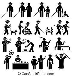 Blind Man Handicap Stick Figure