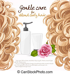 Blond curled hair care background
