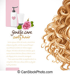Blond curled hair care background for your text