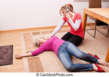 blond young woman makes an emergency call